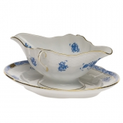 Chinese Bouquet Blue GRAVY BOAT W/FIXED STAND