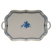 Chinese Bouquet Blue REC TRAY W/BRANCH HANDLES