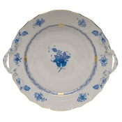 "Chinese Bouquet Blue CHOP PLATE W/HANDLES  12""D"