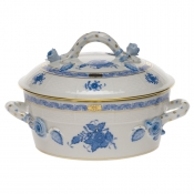 Chinese Bouquet Blue SMALL COVERED VEGETABLE DISH - W/BRANCH