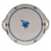 Chinese Bouquet Blue ROUND TRAY W/HANDLES