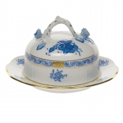 Chinese Bouquet Blue COV BUTTER DISH