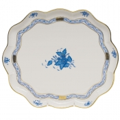"Chinese Bouquet Blue SCALLOP TRAY  11.25""L X 9.5""W"
