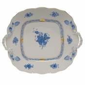 Chinese Bouquet Blue SQUARE CAKE PLATE W/HANDLES