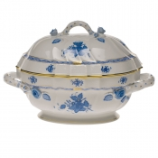 "Chinese Bouquet Blue TUREEN W/BRANCH  (2 QT) 9.5""H"
