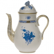Chinese Bouquet Blue COFFEE POT W/ROSE  (36 OZ)