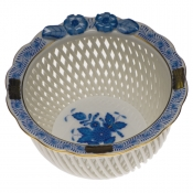 Openwork Basket w/ Flowers - Blue