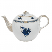 Chinese Bouquet Black Sapphire Teapot w/ Rose  - 36 Oz.