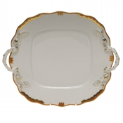 Princess Victoria Rust SQUARE CAKE PLATE W/HANDLES -  9""