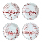 Juliska Country Estate Ruby & Winter Frolic Party Plates / Set 4
