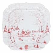 "Juliska Country Estate Winter Frolic Ruby Santa's Cookie Tray - Naughty and Nice List- 12"" Square"