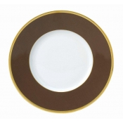 Les Indiennes Matte Gold Filet Brown Dessert Plate