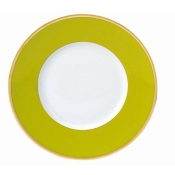 Les Indiennes Matte Gold Filet Anis Green Dessert Plate