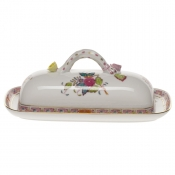 "Chinese Bouquet Multicolor BUTTER DISH W/BRANCH  8.5""L"