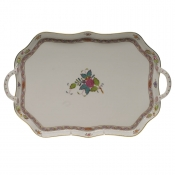 Chinese Bouquet Multicolor TRAY RECTANGULAR W/BRANCH HANDLES  18""