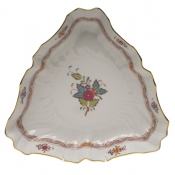 "Chinese Bouquet Multicolor TRIANGLE DISH  9.5""L"