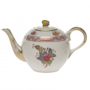 Chinese Bouquet Multicolor TEA POT W/BUTTERFLY (12 OZ) 4""