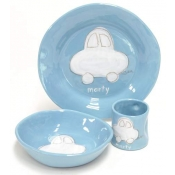 Alex Marshall 3 Piece Character Baby Dish Set - Blue Car