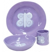 Alex Marshall 3 Piece Character Baby Dish Set - Lavender Butterfly