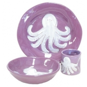 Alex Marshall 3 Piece Character Baby Dish Set - Purple Octopus