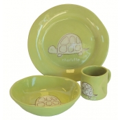 Alex Marshall 3 Piece Character Baby Dish Set - Sprout Turtle