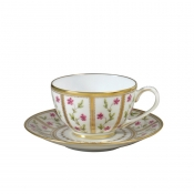 Ancienne Manufacture Royale Rosarie Tea Cups & Saucer - Set 3