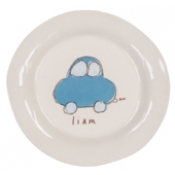 Alex Marshall 3 Piece White Character Baby Dish Set - Blue Car