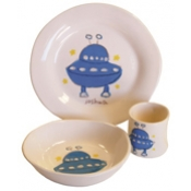 Alex Marshall 3 Piece White Character Baby Dish Set - Blue UFO