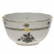 "Chinese Bouquet Black ROUND BOWL (3.5 PT) 7.5""D"
