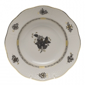 "Chinese Bouquet Black RIM SOUP PLATE 8""D"