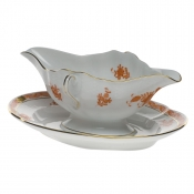 Chinese Bouquet Rust GRAVY BOAT W/FIXED STAND