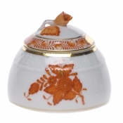 Chinese Bouquet Rust HONEY POT W/ROSE