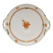 "Chinese Bouquet Rust ROUND TRAY W/HANDLES  11.25""D"