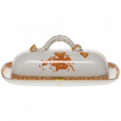 "Chinese Bouquet Rust BUTTER DISH W/BRANCH  8.5""L"
