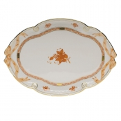 "Chinese Bouquet Rust RIBBON TRAY  15.75""L X 11""W"