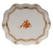 "Chinese Bouquet Rust SCALLOP TRAY  11.25""L X 9.5""W"