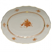 "Chinese Bouquet Rust PLATTER  17""L X 12.5""W"
