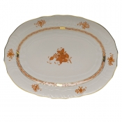 "Chinese Bouquet Rust PLATTER  15""L X 11.5""W"