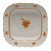 "Chinese Bouquet Rust SQUARE FRUIT DISH  11""SQ"