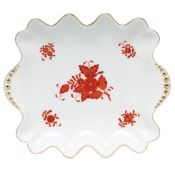 Herend Chinese Bouquet Rust - Small Dish with Pearls Handles