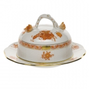 "Chinese Bouquet Rust COVERED BUTTER DISH  6""D 3.5""H"