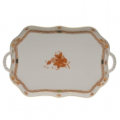 Chinese Bouquet Rust TRAY -  RECTANGULAR W/BRANCH HANDLES  18""