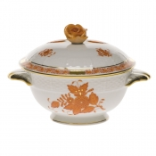Chinese Bouquet Rust COVERED CUP W/ROSE LID - KIT