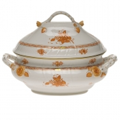 "Chinese Bouquet Rust TUREEN W/BRANCH  (4 QT) 10""H"