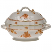 "Chinese Bouquet Rust TUREEN W/BRANCH  (2 QT) 9.5""H"