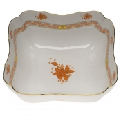 "Chinese Bouquet Rust SQUARE SALAD BOWL  10""SQ"
