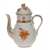 Chinese Bouquet Rust COFFEE POT W/ROSE  (36 OZ) 8.5