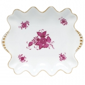 Herend Chinese Bouquet Raspberry - Small Dish with Pearls Handles