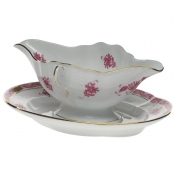 Chinese Bouquet Raspberry GRAVY BOAT W/FIXED STAND