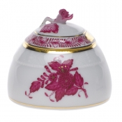 "Chinese Bouquet Raspberry HONEY POT W/ROSE  2.5""H"